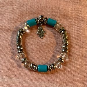 Turquoise and silver costume jewelry bracelet